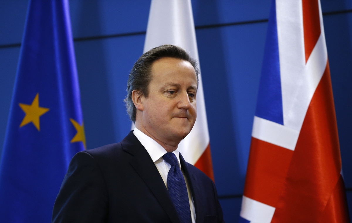 David Cameron, EU and UK flags