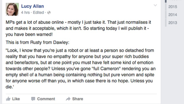 Lucy Allan deleted facebook post