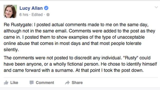 Lucy allan facebook response