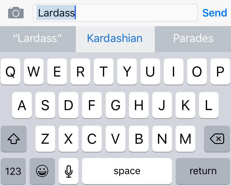 Kardashian Lardass Apple autocorrect