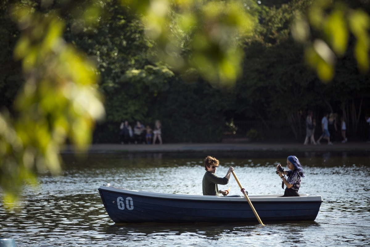 People on a boat in Hyde Park