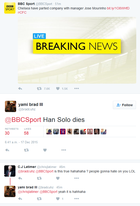 Han Solo Dies Jose Mourinho sacked
