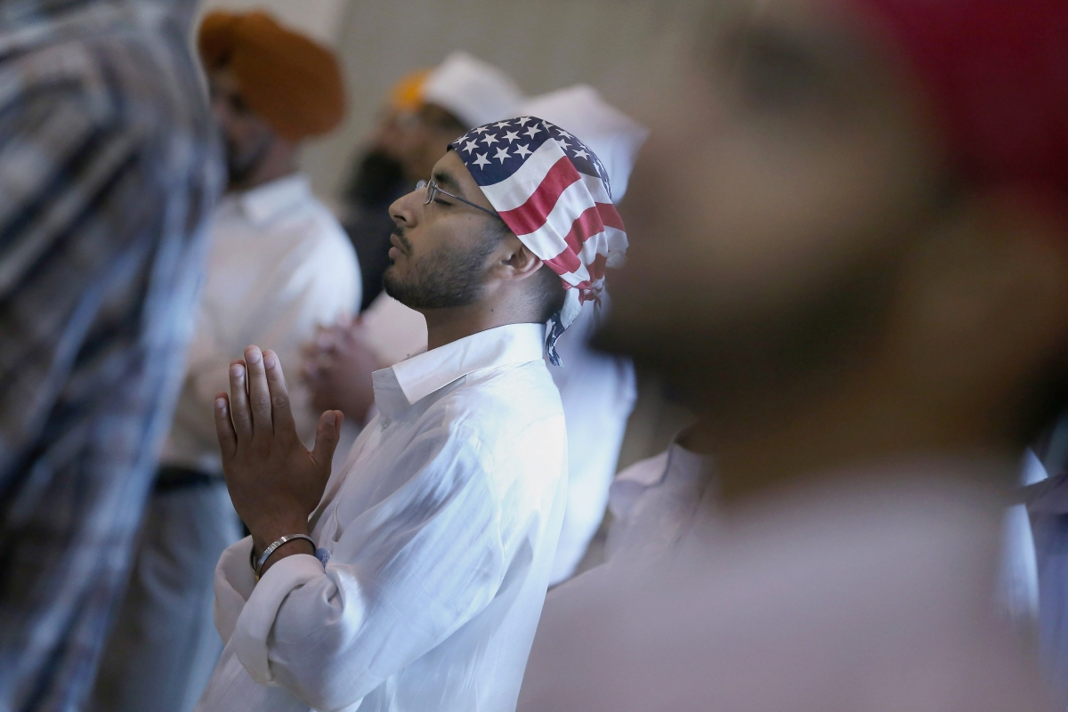 Sikh man with an American flag turban