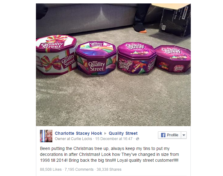 Charlotte Stacey Hook's Facebook post Quality Street