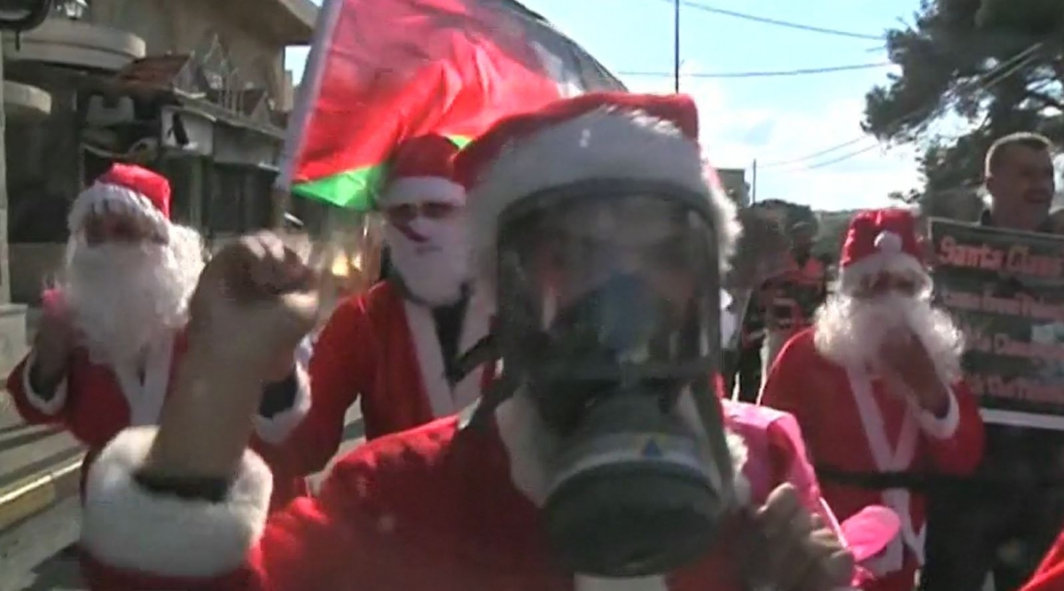 Santa Claus protest in the West bank
