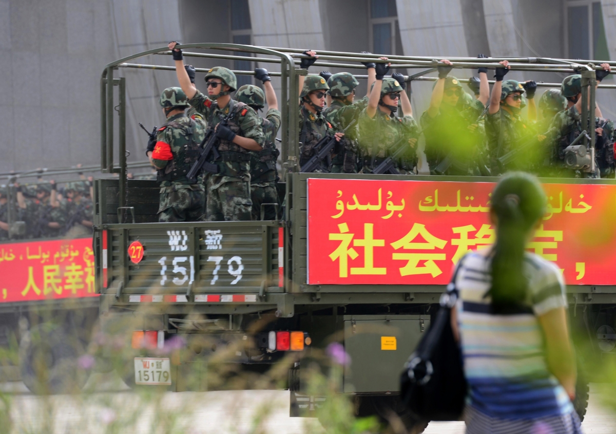 Chinese military patrol China's Xinjiang province