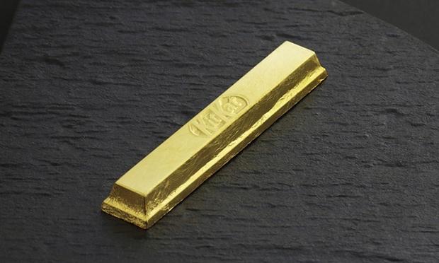 gold wrapped Kit Kat