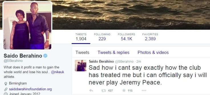 Berahino tweet