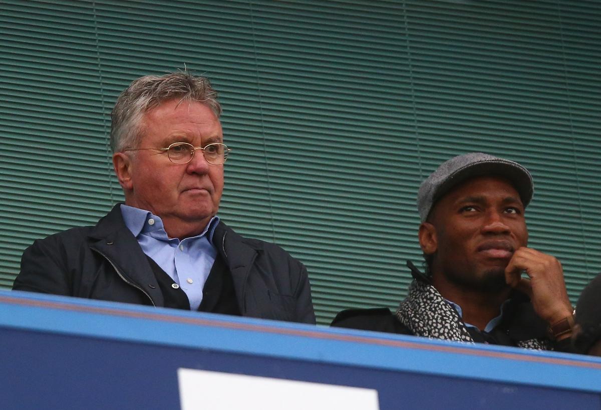 Guss Hiddink and Didier Drogba