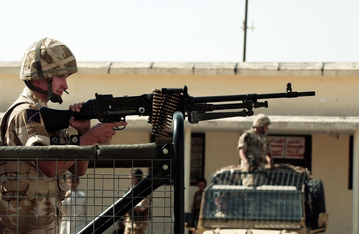British troops on patrol in Basra, Iraq,in2003