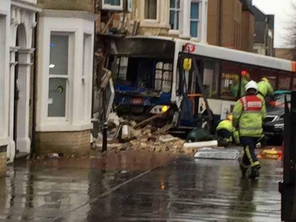 Scene of the Peterborough bus crash