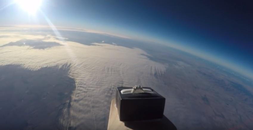 man sends wedding ring to space