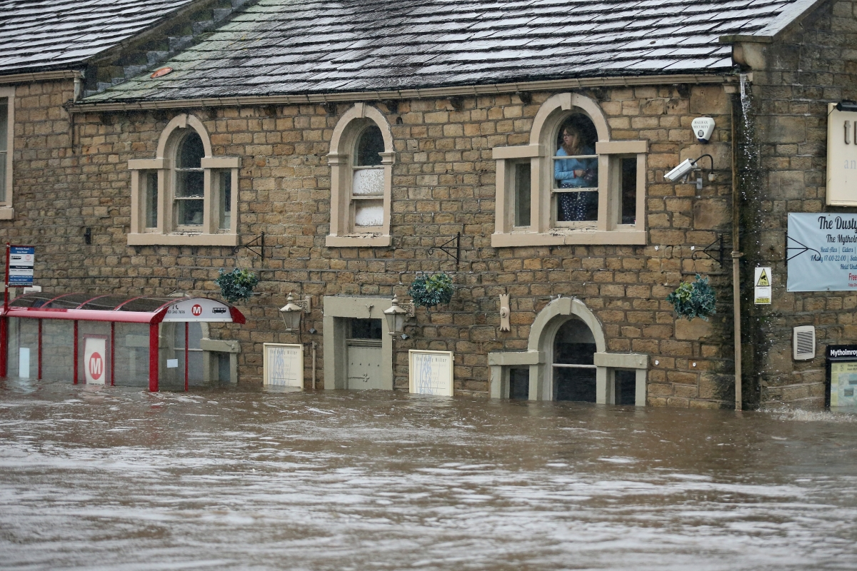 Flood waters in Mytholmroyd in West Yorkshire