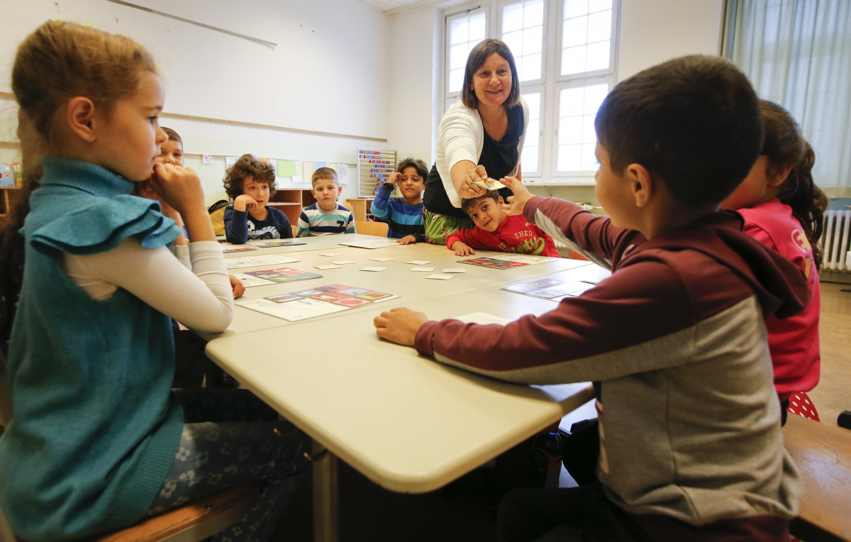 Refugees attend German school