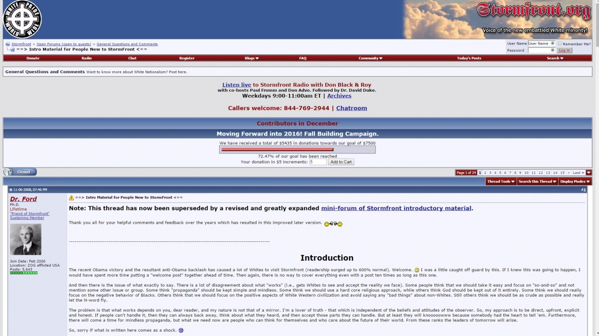 Stormfront website screen grab