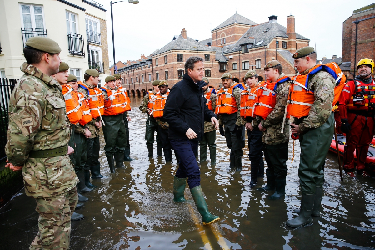David Cameron visits victims of the UK floods in York