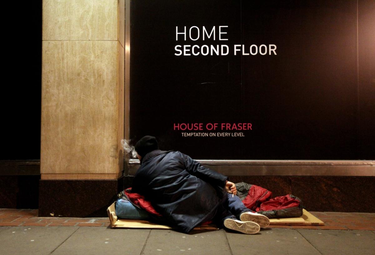 homeless man london