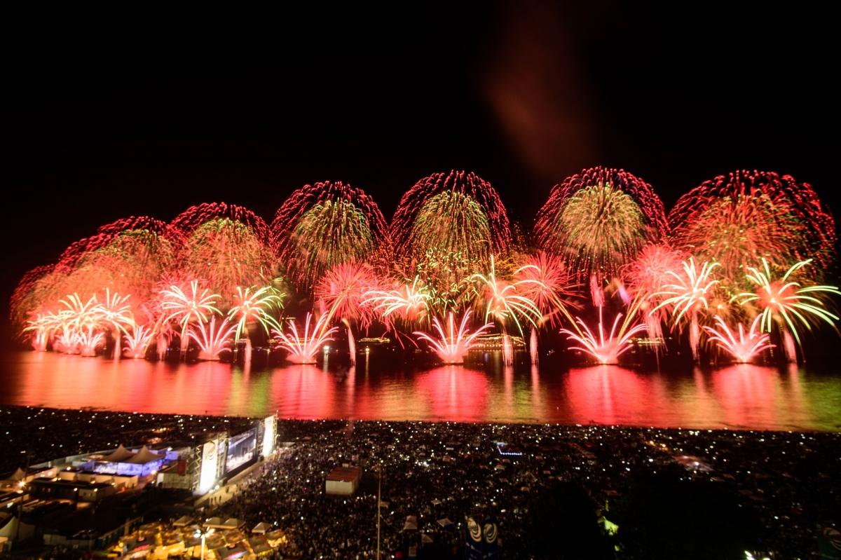 Copacabana beach fireworks