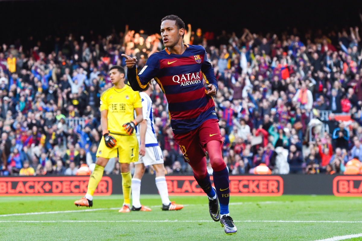 Neymar playing for Barcelona