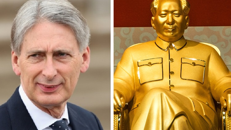 Philip Hammond and a gold statue of Chairman Mao