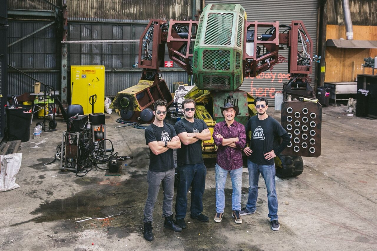 MegaBots creators with venture capitalist Bill Tai