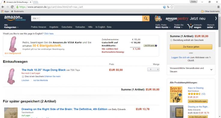 Dildo placed into Amazon.de customer's shopping basket