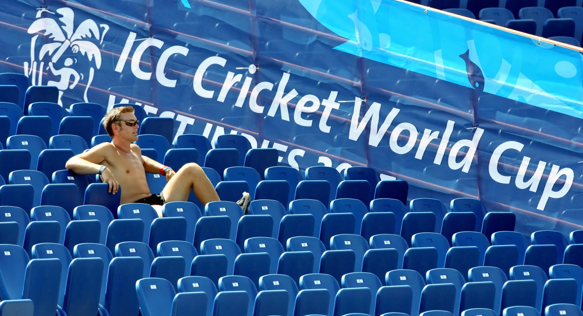 A fan watches the Cricket World Cup