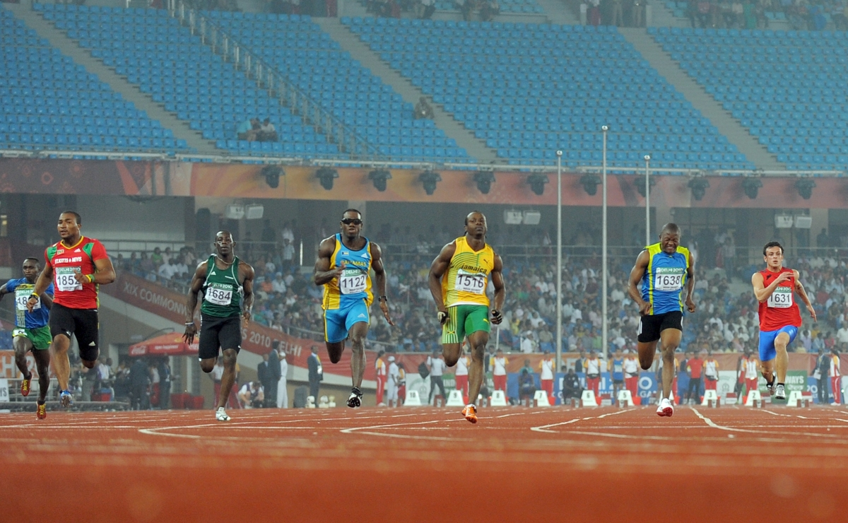 Sprinters at the Commonwealth Games in Delhi