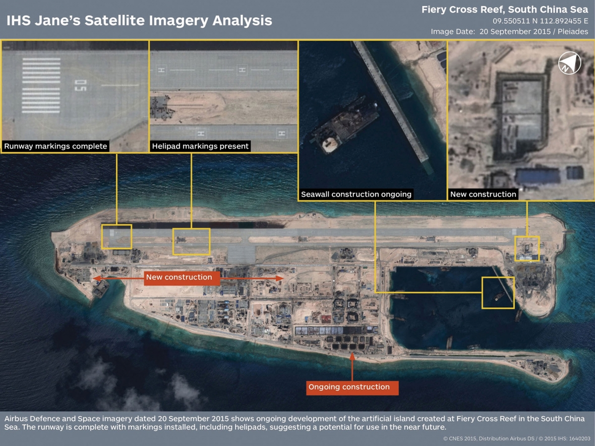 The runway at the Fiery Cross Reef, one of three China was constructing on artificial islands built up from seven reefs and atolls in the Spratlys archipelago, is shown in this IHS Jane's Satellite Imagery Analysis handout image released on January 4, 20