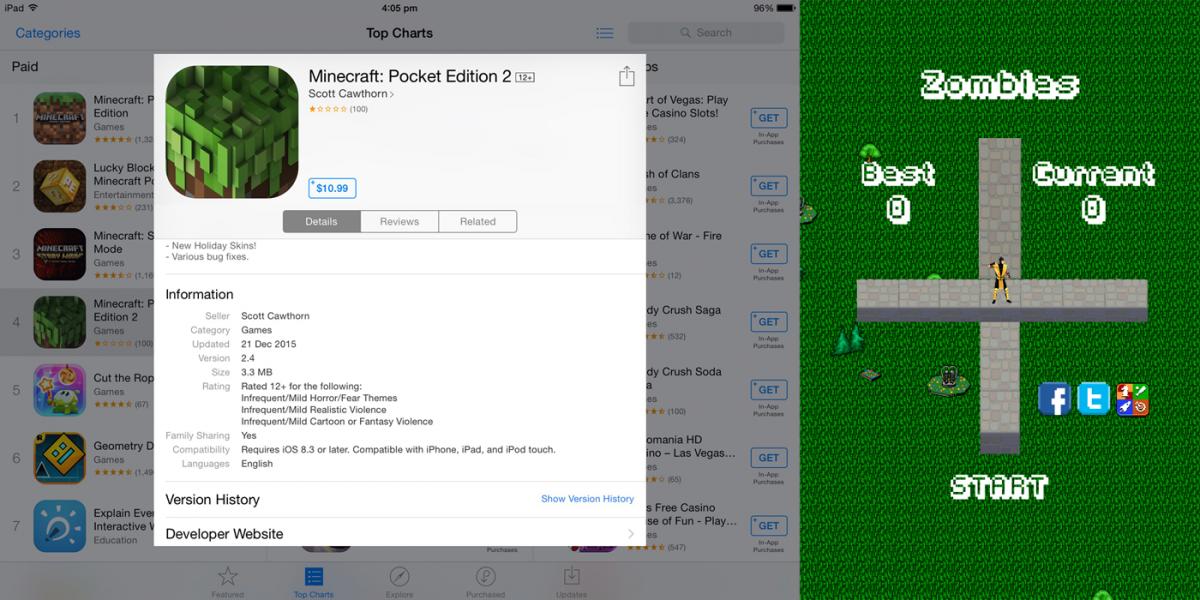 Minecraft 2 iOS Scam