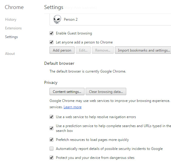 Click on Content settings in Privacy