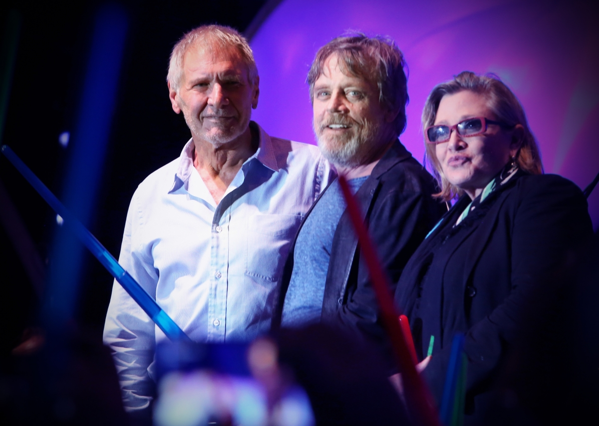 Actors Harrison Ford, Mark Hamill, Carrie Fisher