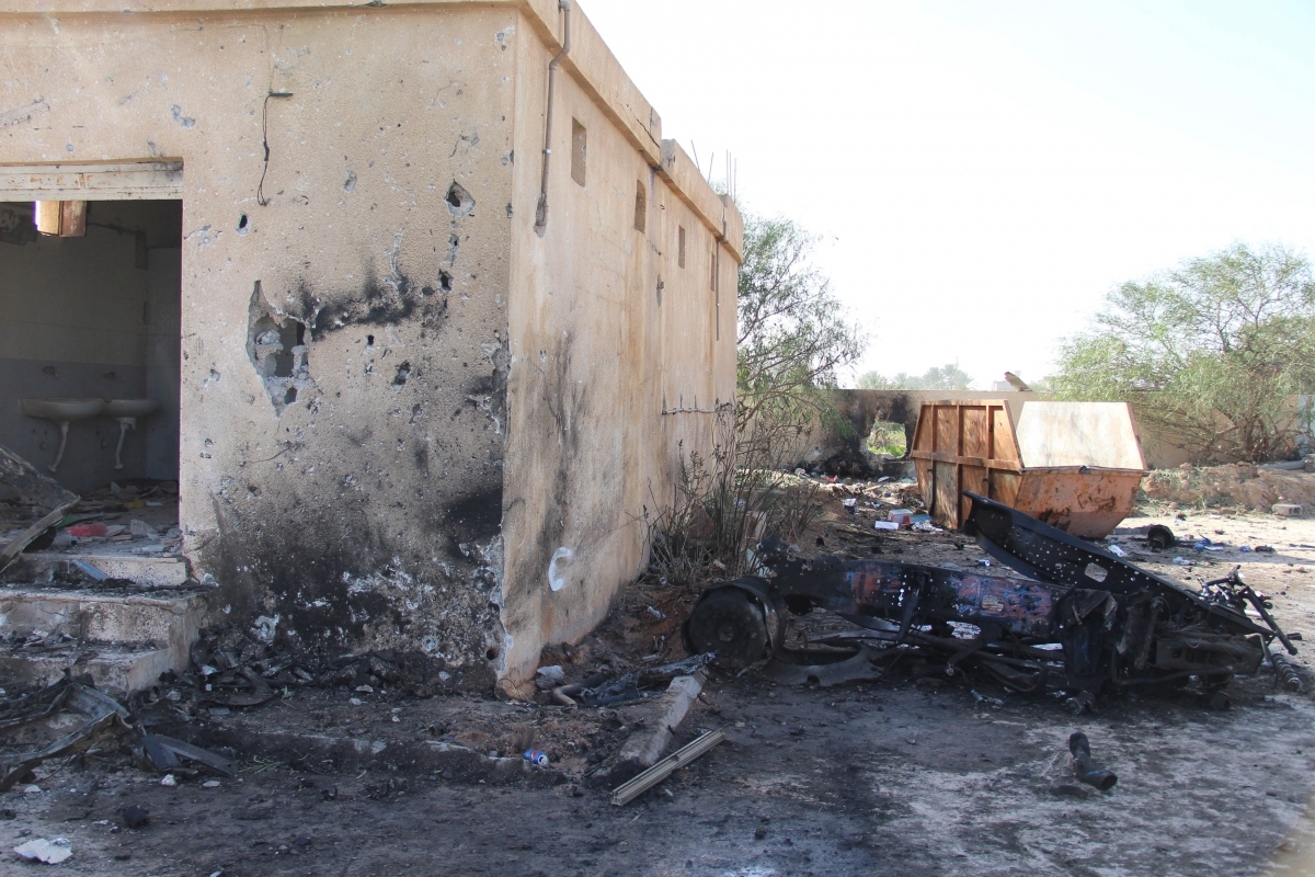Bomb blast wreckage in Zliten