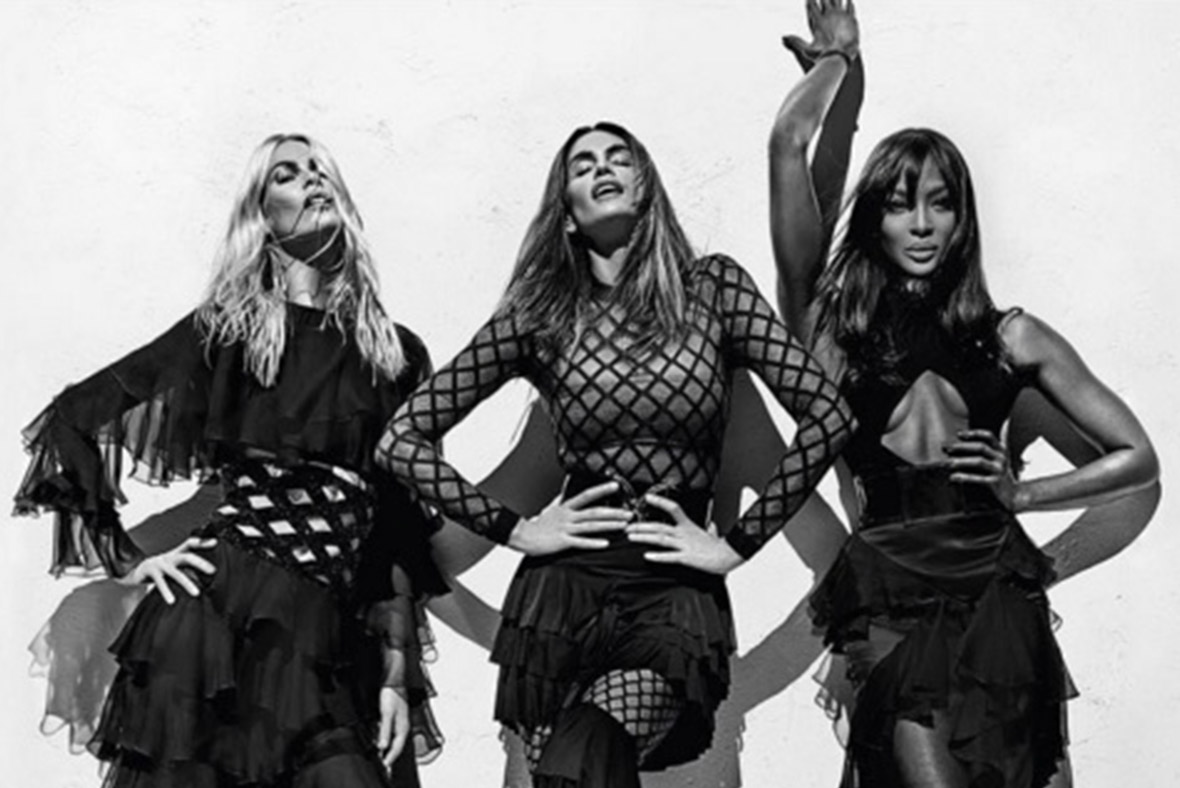 Naomi Campbell, Cindy Crawford and Claudia Schiffer join the Balmain Army