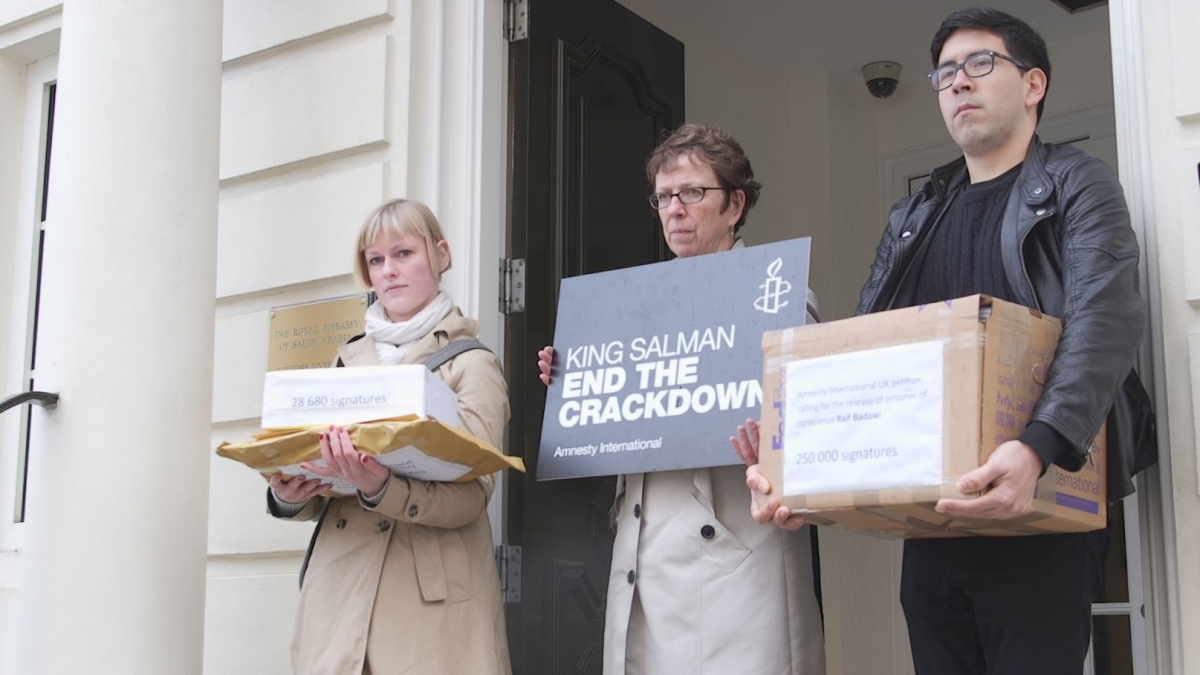 Raif Badawi protest in London