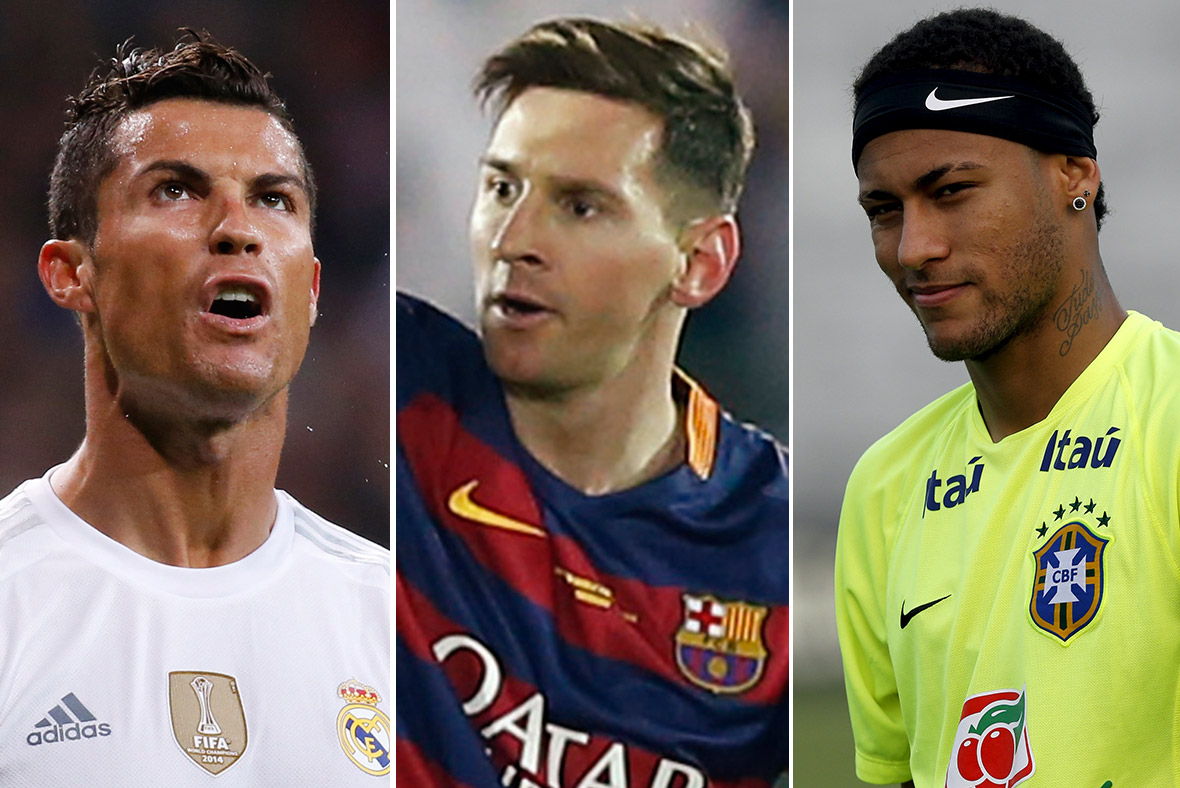 Cristiano Ronaldo, Lionel Messi and Brazilian Neymar