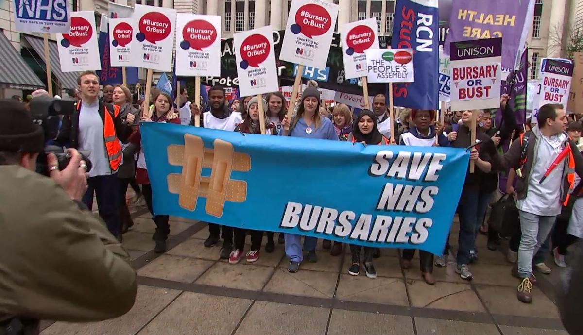 Student nurse protest over bursary changes