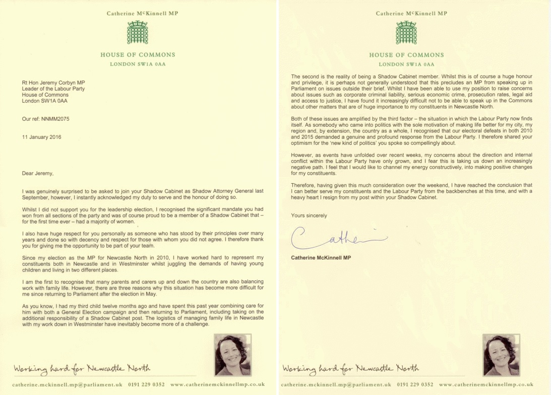 Catherine McKinnell's resignation letter