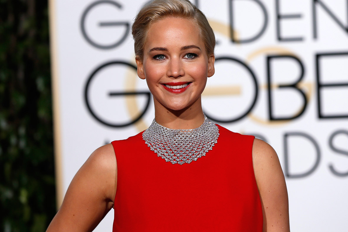 Jennifer Lawrence at the 2016 Golden Globes