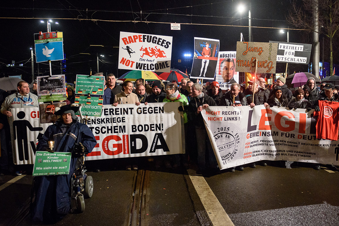Far-right demonstrators in Leipzig protested against the New Year's sex attacks