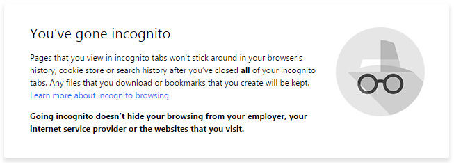 Google Chrome Incognito Mode warning