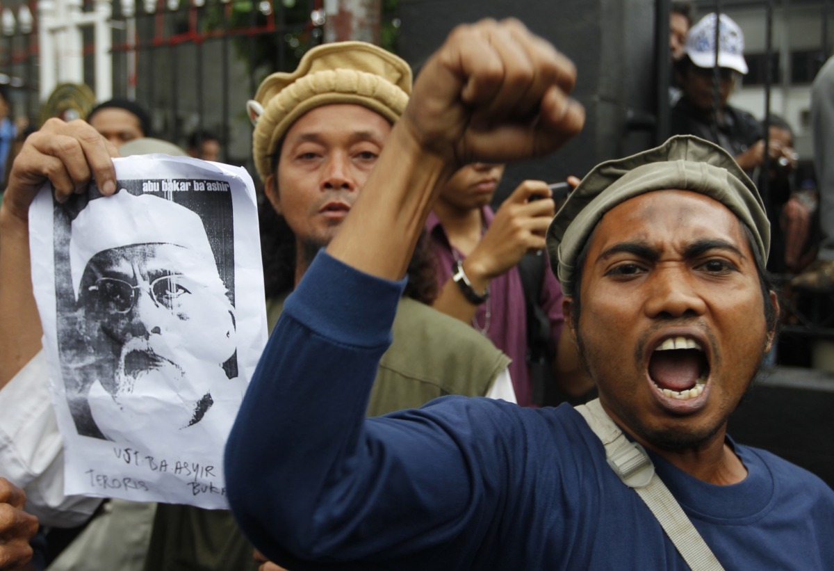 Supporters of radical Indonesian cleric Abu Bakar Bashir