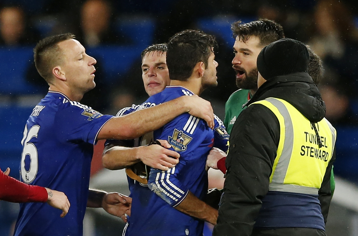 Diego Costa clashes with Boaz Myhill