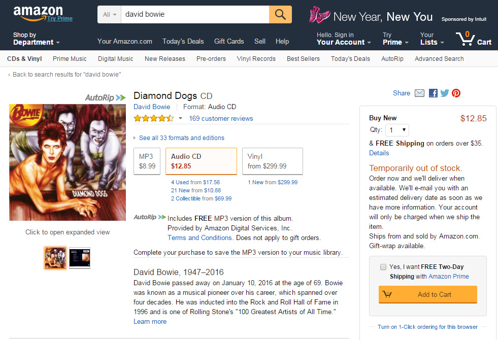 Diamond Dogs sold out on Amazon US