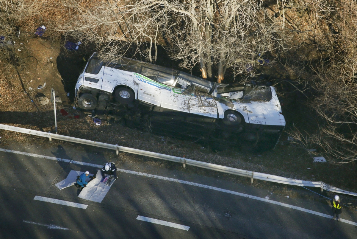 At least killed when ski bus flips over guard rail in