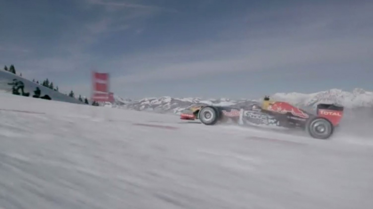 Max Verstappen drives Red Bull F1 car around Austrian ski slopes