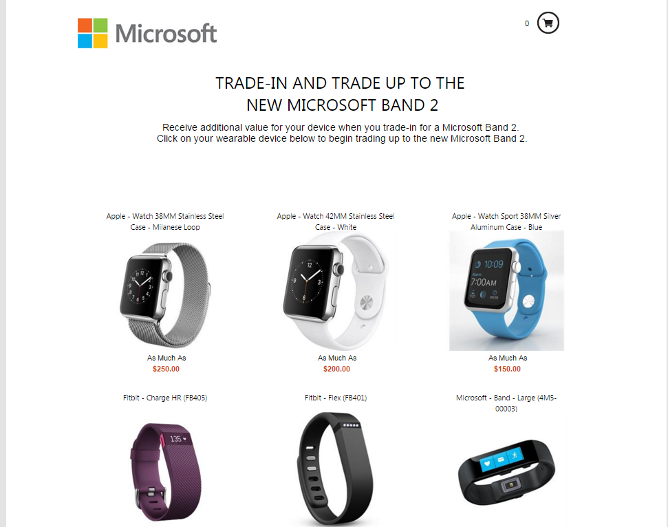 Microsoft trade-in program for Band 2