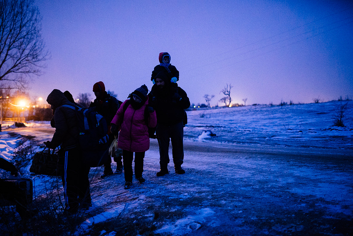 refugees travel in winter