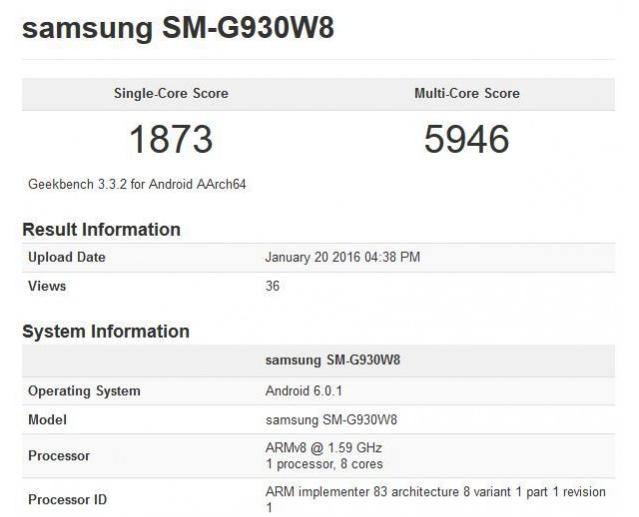 Galaxy S7 benchmark specs
