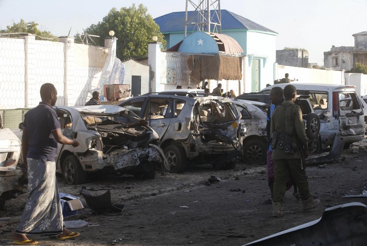 Car wreckage in Somalia